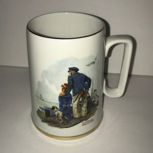 Norman Rockwell vintage mug Looking out sea 1985